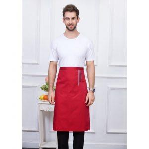 tablier-long-serveur-rouge-a-trait